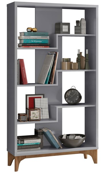 Manhattan Comfort Gowanus Grey 4 Shelves Bookcase MHC-6LC3