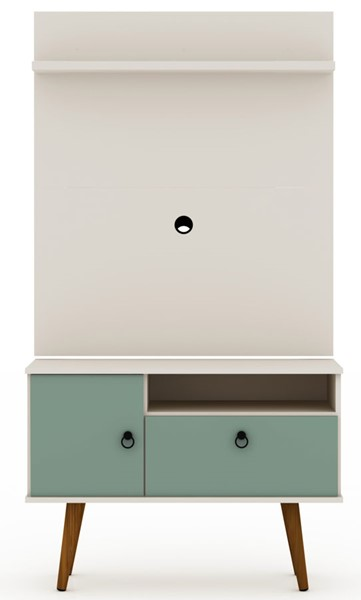 Manhattan Comfort Tribeca Off White Green 2pc 35.43 Inch TV Stand and Panel MHC-7PMC86
