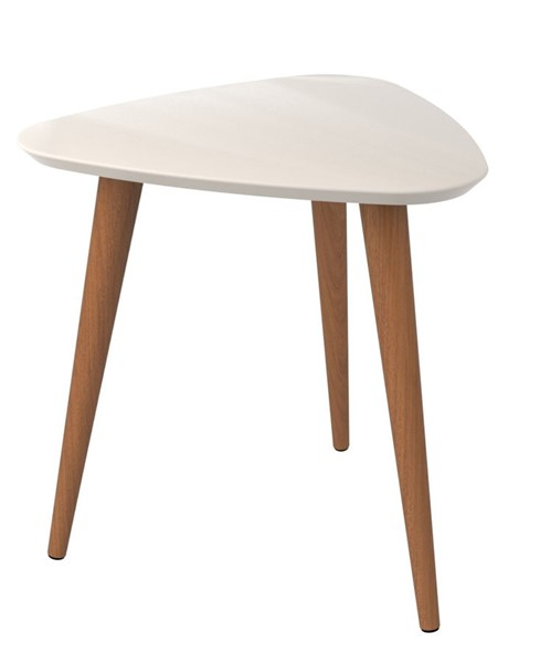 Manhattan Comfort Utopia Off White 19.68 Inch High Triangle End Table MHC-89852