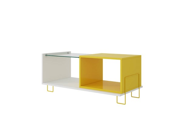 Manhattan Comfort Boden Yellow 2 Shelves End Table MHC-97AMC128