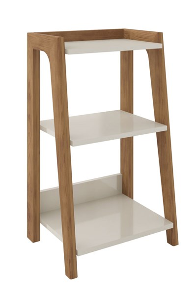 Manhattan Comfort Gowanus Off White 3 Shelves Ladder Side Table MHC-9LC1