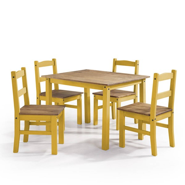 Manhattan Comfort York Yellow 5pc Dining Room Set MHC-CS18002