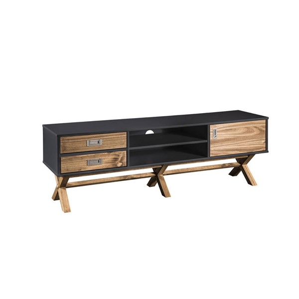 Manhattan Comfort Barclay Dark Grey Natural 59.05 Inch TV Stand MHC-CS91609
