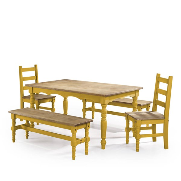 Manhattan Comfort Jay Yellow 5pc Dining Room Set MHC-CSJ202