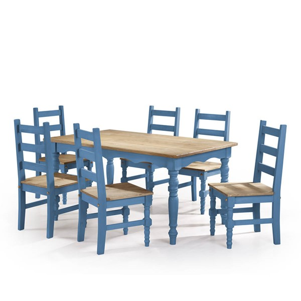Manhattan Comfort Jay Blue 7pc Dining Room Set MHC-CSJ301