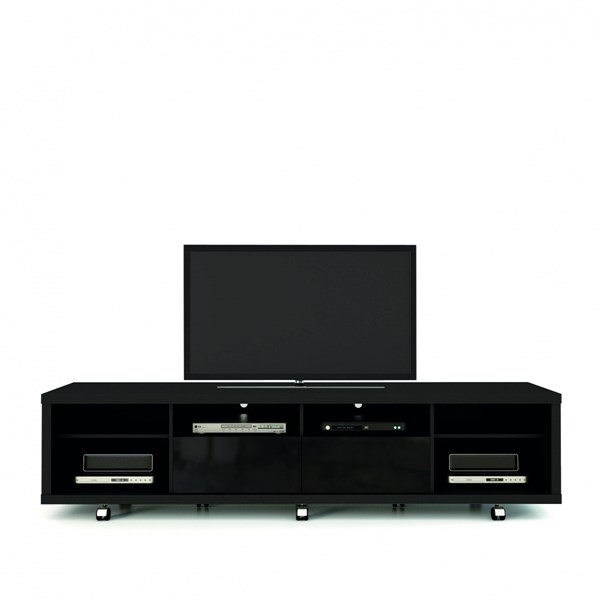 Cabrini Black MDF 2.2 Wheels Pro Touch Wooden TV Stand MHC-15313