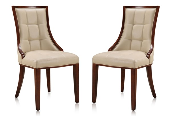 2 Manhattan Comfort Fifth Avenue Cream Faux Leather Dining Chairs MHC-DC008-CR