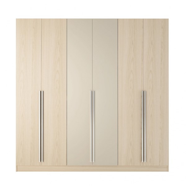 Eldridge Modern Oak Vanilla Nude MDF 4 Drawers & 6 Doors Wardrobe MHC-34163