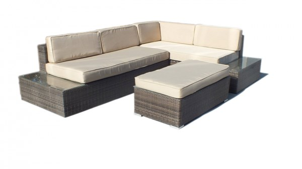 cambridge brown beige fabric rattan l shaped outdoor sofa patio set the classy home. Black Bedroom Furniture Sets. Home Design Ideas