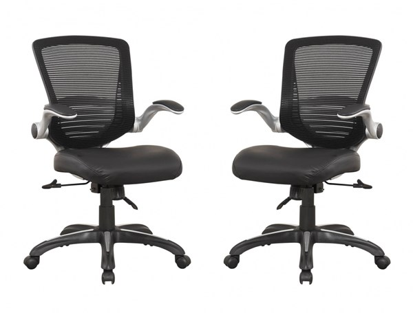 2 Walden Black PU Leather Mesh Back Flip Up Padded Arm Office Chairs MHC-MC-633-B