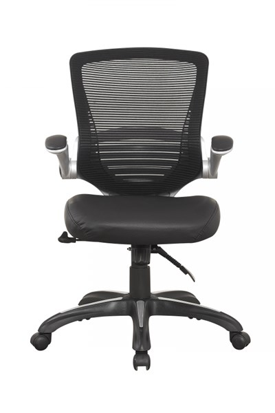 Walden Black PU Leather Mesh Back Flip Up Padded Arm Office Chair MHC-MC-633