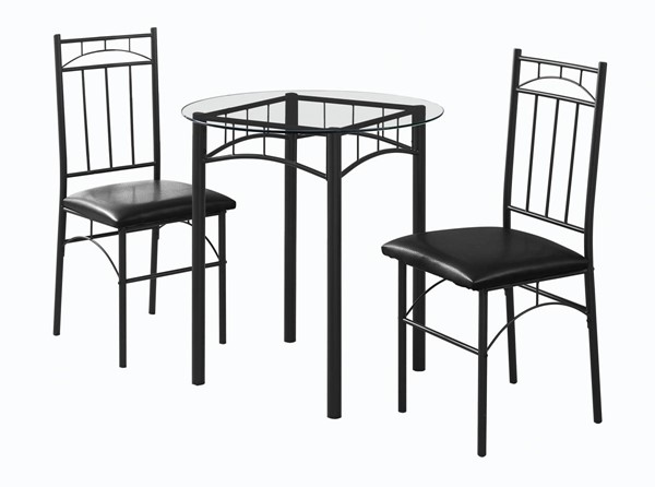 Monarch Specialties Black Clear 3pc Dining Set MNC-I-1000