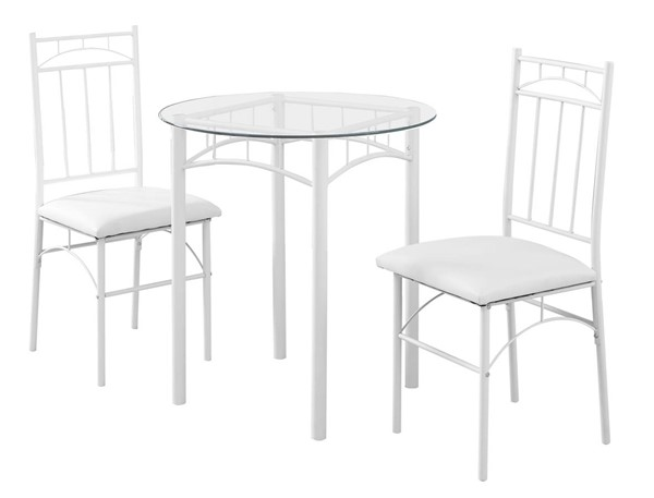 Monarch Specialties White Clear 3pc Dining Set MNC-I-1001