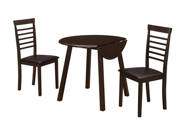 Monarch Specialties Cappuccino Leather 3pc Dining Set MNC-I-1004