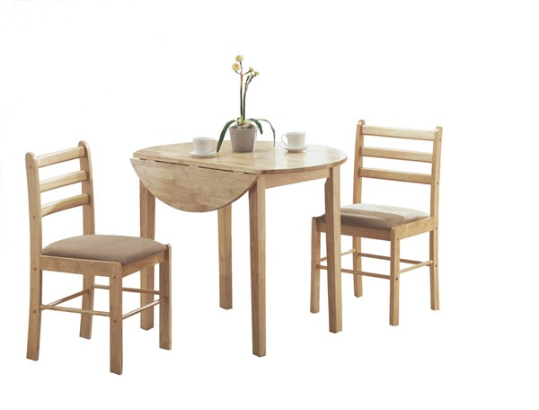 Monarch Specialties Natural Beige Round 3pc Dining Sets MNC-I-1006-DR-S-VAR