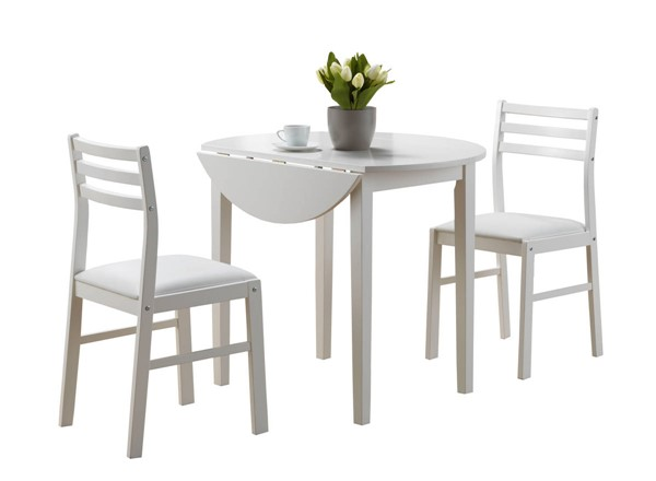 Monarch Specialties White Round 3pc Dining Set MNC-I-1008