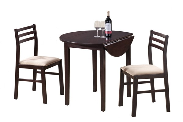 Monarch Specialties Cappuccino Round 3pc Dining Set MNC-I-1009