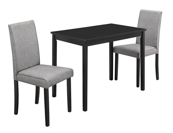 Monarch Specialties Grey Black 3pc Dining Set MNC-I-1016