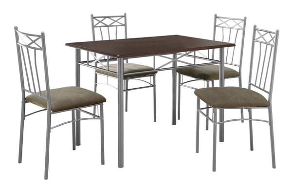 Monarch Specialties Cappuccino Silver 5pc Dining Set MNC-I-1020