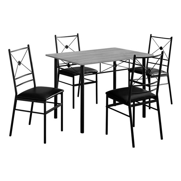 Monarch Specialties Grey Black 5pc Dining Set MNC-I-1021