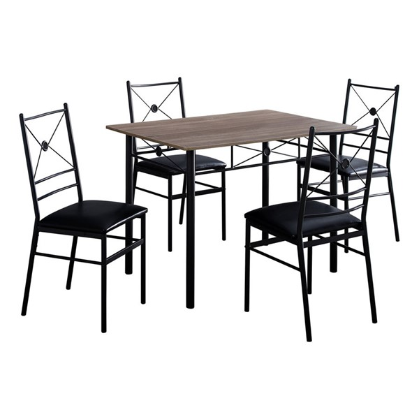 Monarch Specialties Taupe Black 5pc Dining Set MNC-I-1022