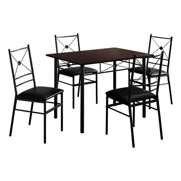 Monarch Specialties Cappuccino Black 5pc Dining Set MNC-I-1023