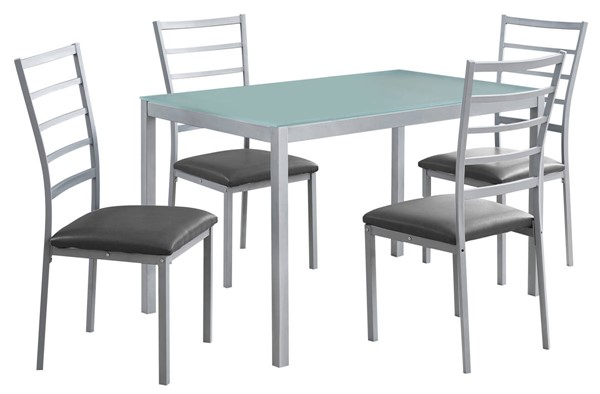 Monarch Specialties Silver Grey 5pc Dining Set MNC-I-1026