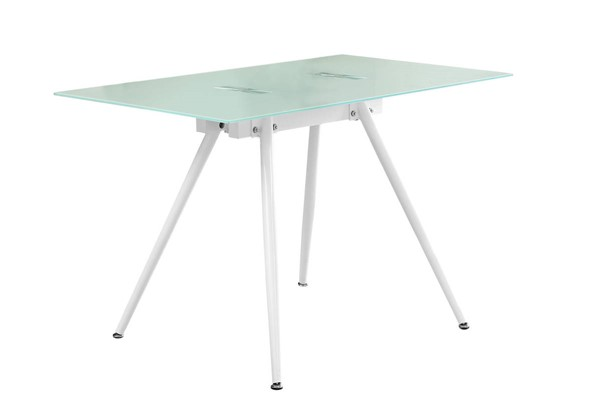 Monarch Specialties White Glass Top Dining Table MNC-I-1032