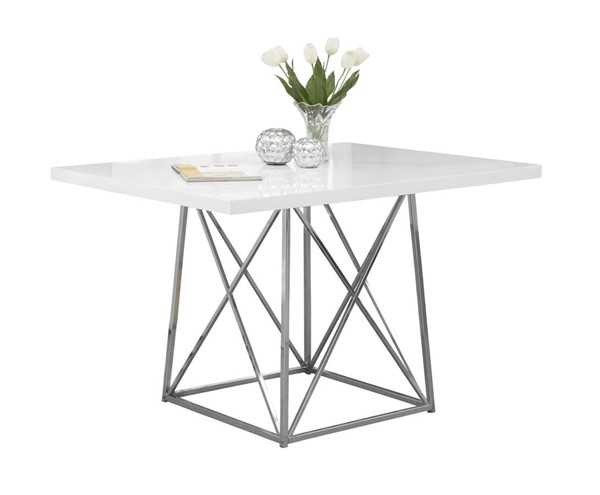 Monarch Specialties White Metal Dining Table MNC-I-1046