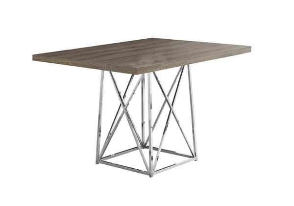 Monarch Specialties Taupe Wood Metal Dining Table MNC-I-1057