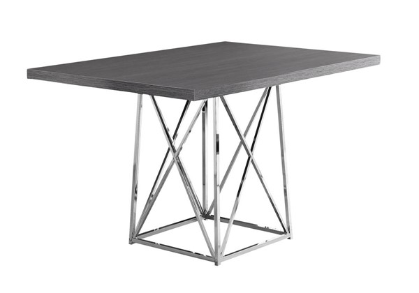 Monarch Specialties Grey Wood Metal Dining Table MNC-I-1059