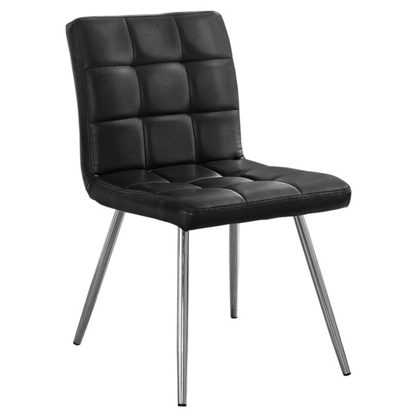2 Monarch Specialties Black Leather Dining Chairs MNC-I-1073