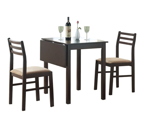 Monarch Specialties Cappuccino Beige Fabric 3pc Dining Sets MNC-I-1078-DR-S-VAR