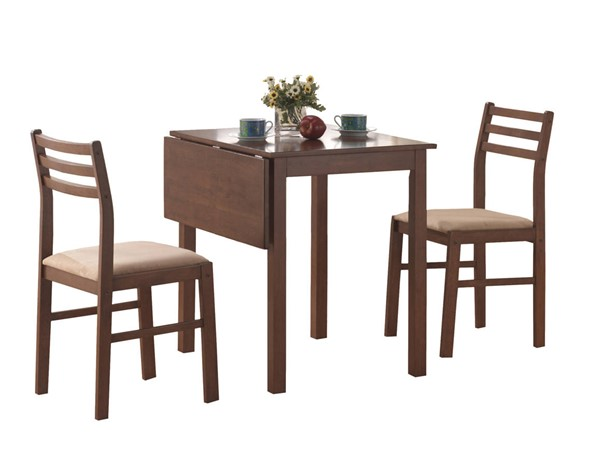 Monarch Specialties Walnut Beige Fabric 3pc Dining Set MNC-I-1079