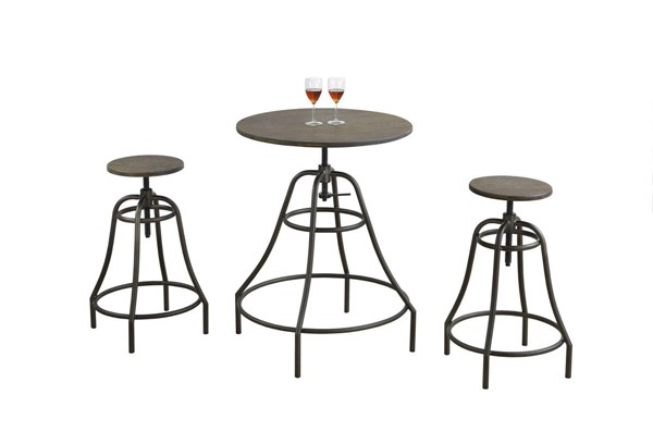 Monarch Specialties Brown Bamboo Metal 3pc Dining Set MNC-I-1085