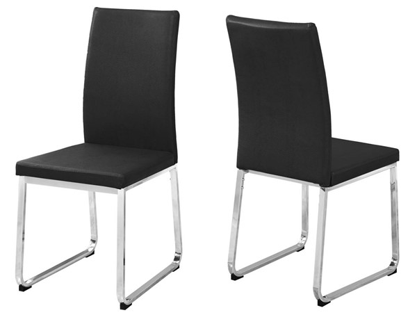2 Monarch Specialties Black Leather Cushion Back Dining Chairs MNC-I-1092