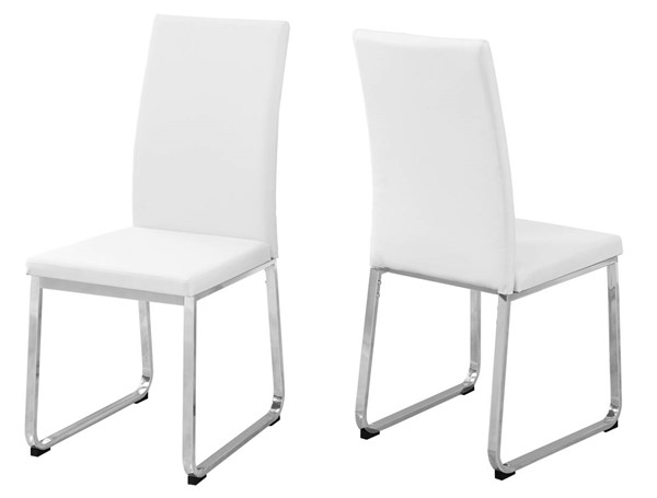 2 Monarch Specialties White Leather Cushion Back Dining Chairs MNC-I-1093