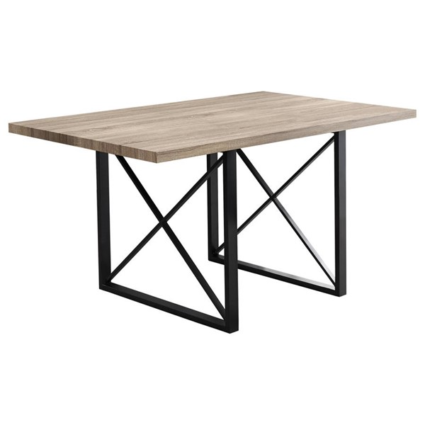 Monarch Specialties Taupe Black MDF Metal Dining Table MNC-I-1100
