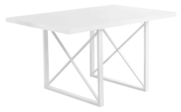 Monarch Specialties White MDF Metal Rectangle Dining Table MNC-I-1101