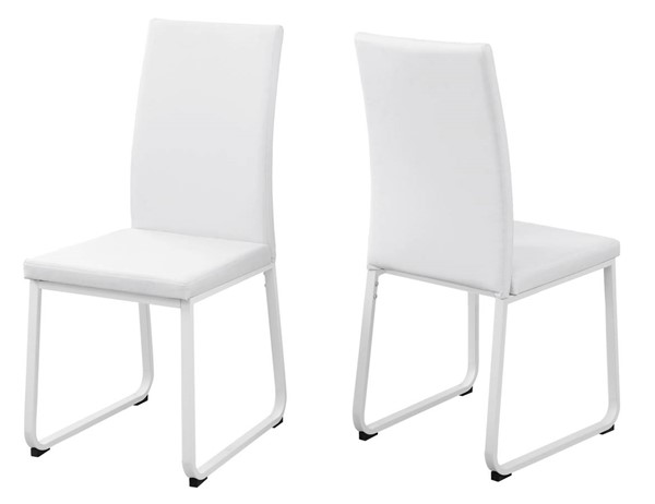 Monarch Specialties White Leather Metal Foam Dining Chairs MNC-I-1102-DCH-VAR