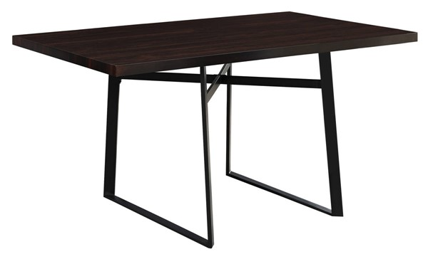 Monarch Specialties Cappuccino Black MDF Metal Dining Table MNC-I-1105