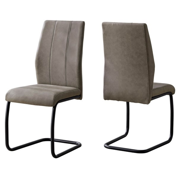 2 Monarch Specialties Taupe Black Dining Chairs MNC-I-1114