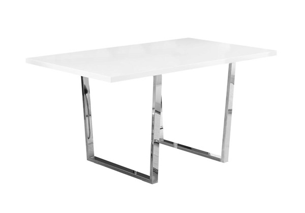 Monarch Specialties Glossy White Wood Metal Rectangle Dining Tables MNC-I-1118-DT-VAR