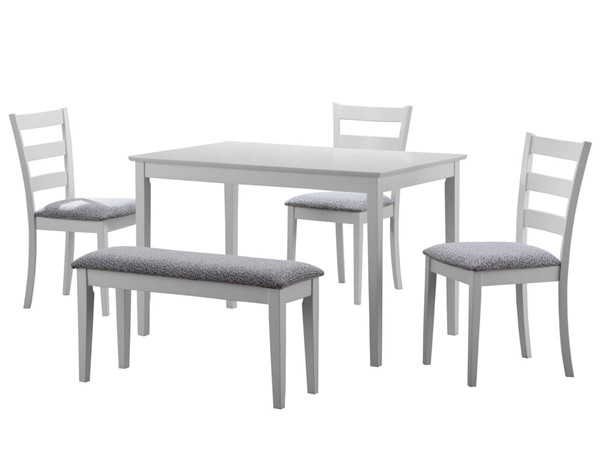 Monarch Specialties White Grey 5pc Dining Set MNC-I-1210