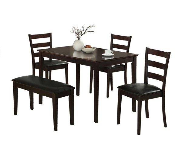 Monarch Specialties Cappuccino Black 5pc Dining Set MNC-I-1211
