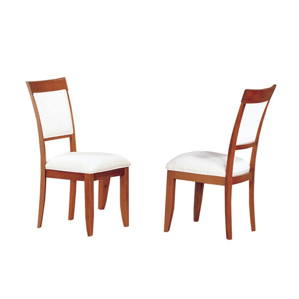 2 Monarch Specialties Cherry White Fabric Dining Chairs MNC-I-1417
