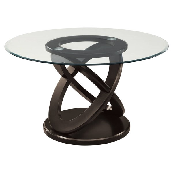 Monarch Specialties Espresso Clear Dining Table MNC-I-1749