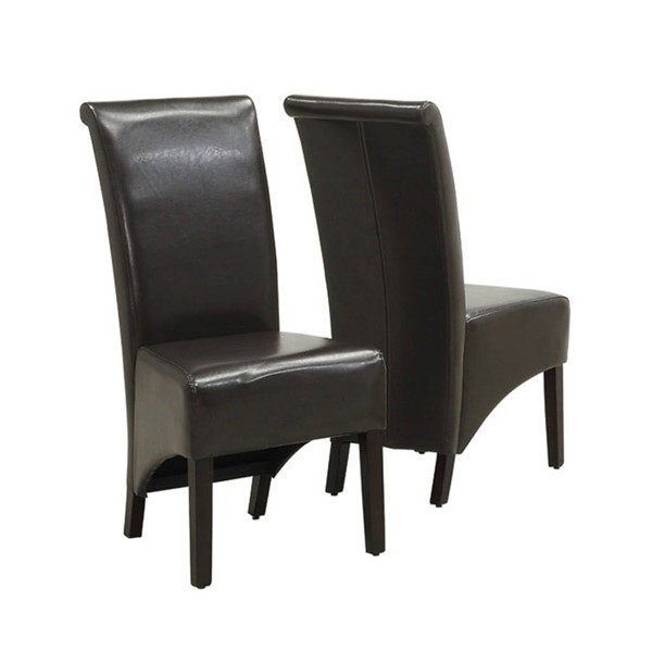 2 Monarch Specialties Brown Cappuccino Leather Dining Chairs MNC-I-1776BR