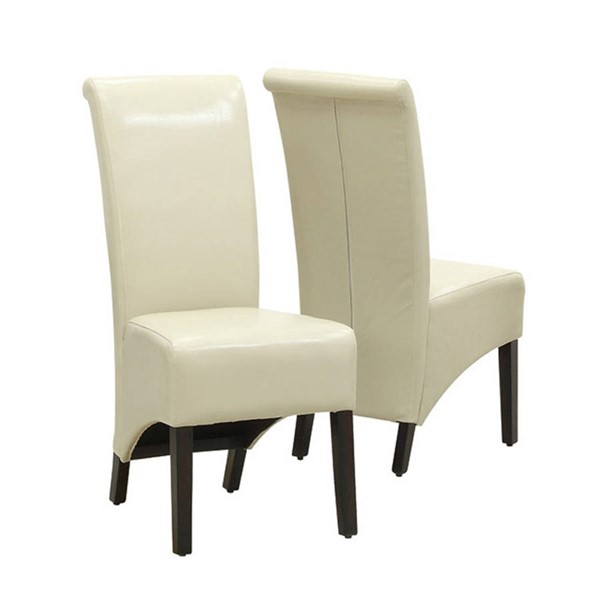 2 Monarch Specialties Taupe Cappuccino Leather Dining Chairs MNC-I-1777TP