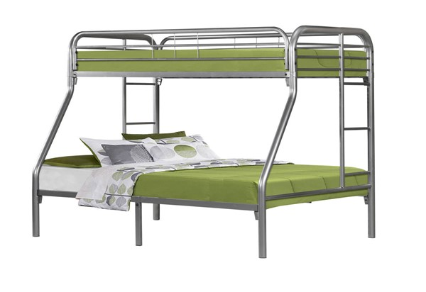 Monarch Specialties Silver Metal Twin Full Bunk Bed MNC-I-2231S
